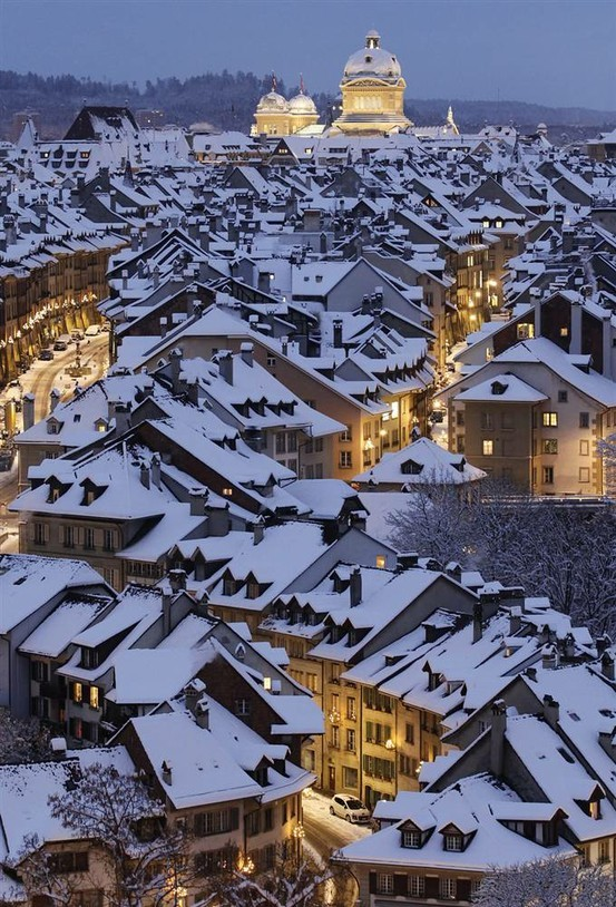 Snowy Night, Bern, Switzerland