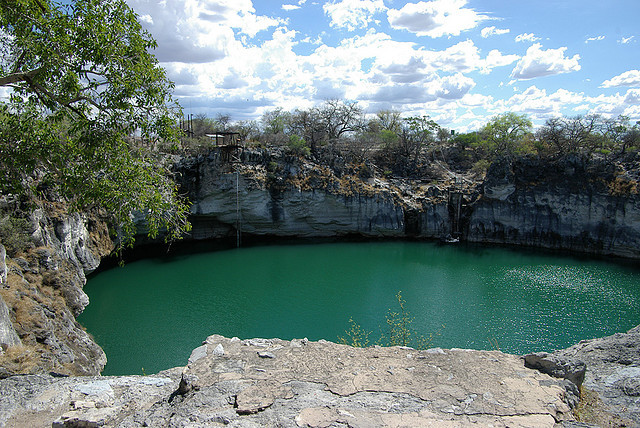 Otjikoto Lake is a sinkhole lake, created by a collapsing karst cave near Tsumeb, Namibia. In June 1915 German troops dumped war materials in the lake...