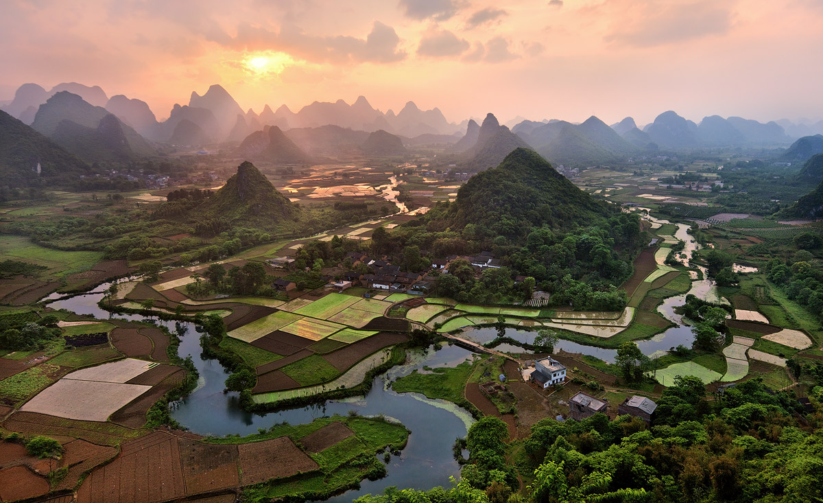 Sunset over Guilin - Guangxi Region, China.