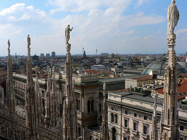 by everythingstops on Flickr.Panoramic view over Milan from the top of the Dome.