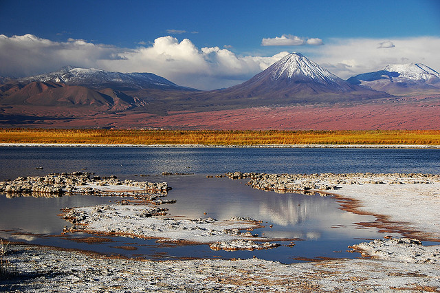 by Leonid Plotkin on Flickr.Laguna Cejas with Licancabur Volcano in the background, Chile.