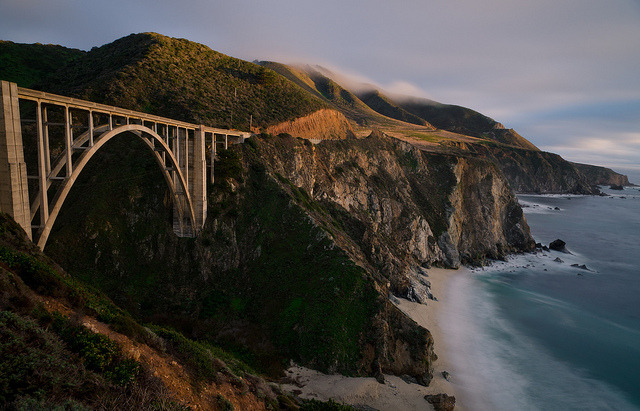 by andreaskoeberl on Flickr.Bixby Bridge at Sunset - Big Sur, California.