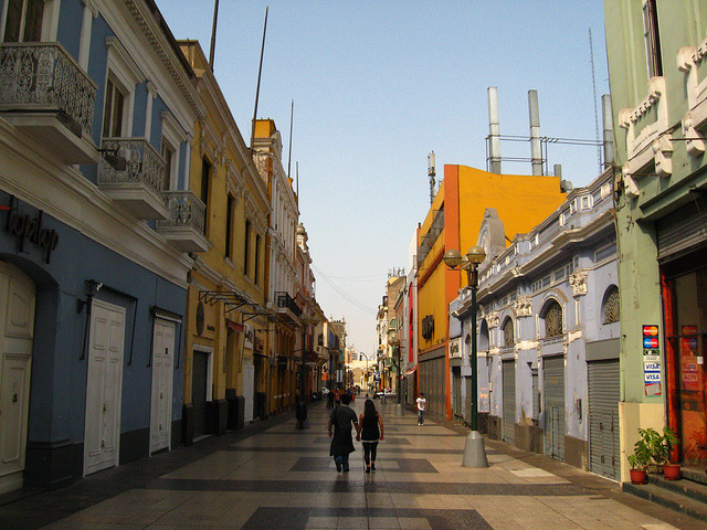 by whl.travel on Flickr.Jiron de la Union, a pedestrian street located in the Historic Centre of Lima, capital of Peru.