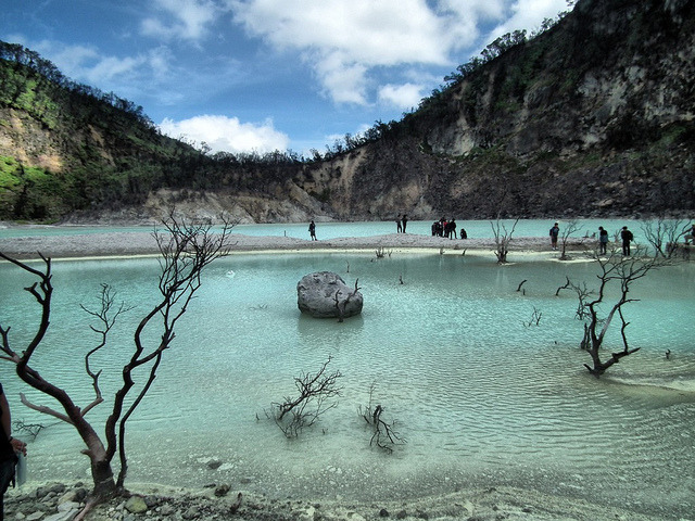by thethemit on Flickr.Kawah Putih acid crater lake in West Java, Indonesia.