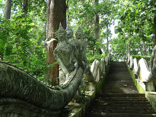 by amygwen on Flickr.Sculptures on the straircase leading to one of the temples in Uttaradit province, Thailand.
