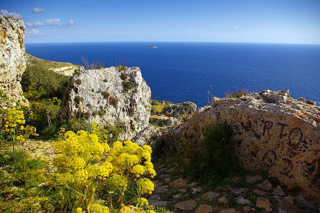 by albireo2006 on Flickr.View from a pathway in the Dingli Cliffs area on the South coast of Malta.