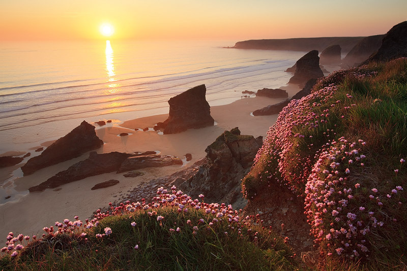 Beautiful sunset at Bedruthan Steps in Cornwall, England