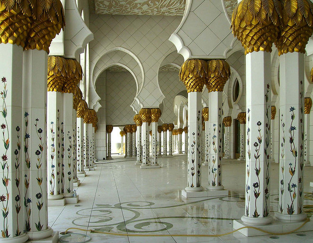 Pillars of Sheikh Zayed Grand Mosque in Abu Dhabi, United Arab Emirates
