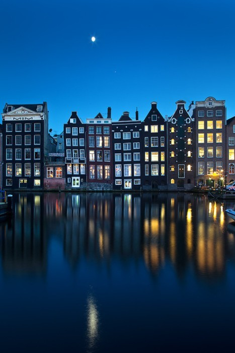 Moon over Amsterdam, The Netherlands
