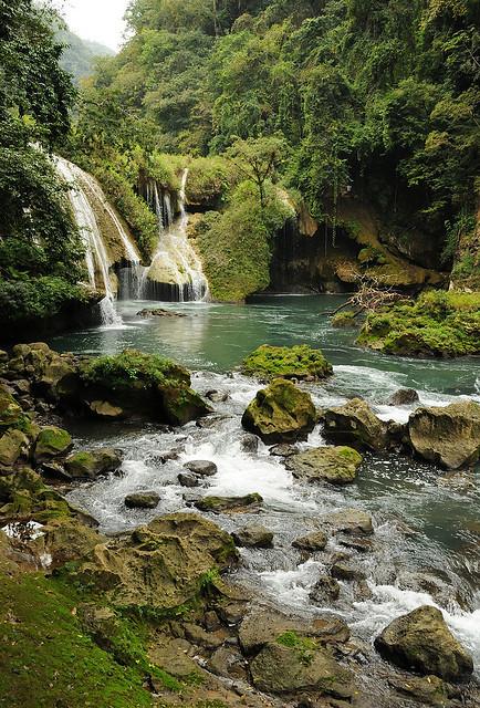 In mayan footsteps at Semuc Champey waterfalls, Guatemala