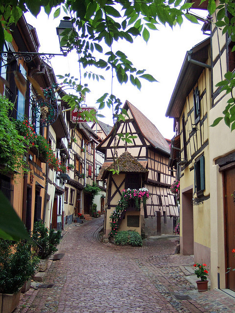 On the streets of Eguisheim, one of the most beautiful villages in France