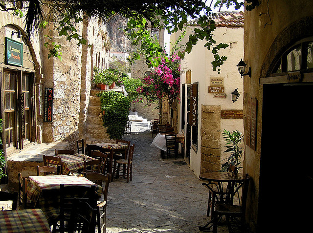 Peaceful dining place on the streets of Monemvasia, Peloponnese, Greece