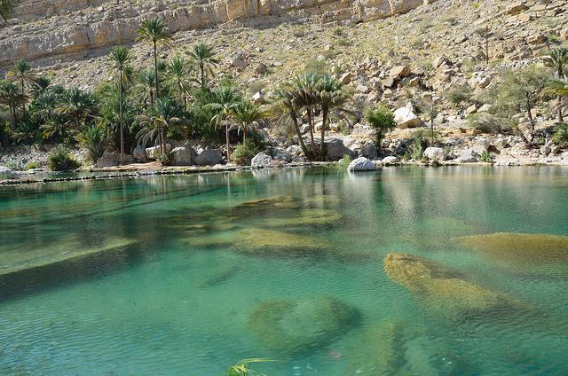 Beautiful waters of Wadi Bani Khalid oasis, Oman