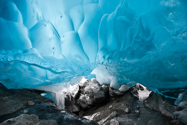 Ice cave in Mendenhall Glacier, Alaska, USA