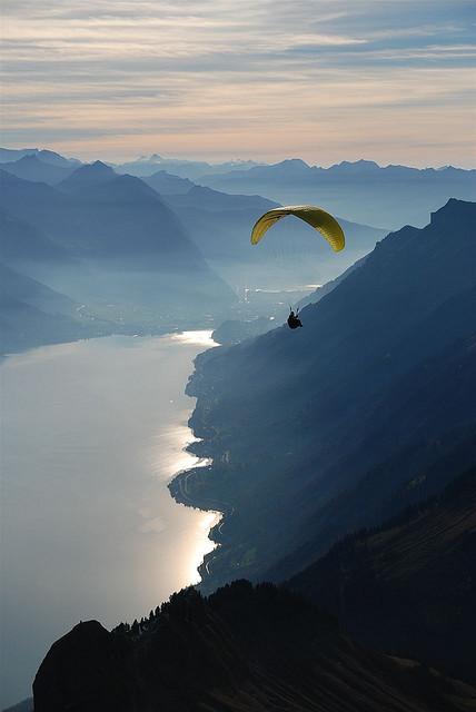 Paraglider above Lake Brienz, Canton of Berne, Switzerland