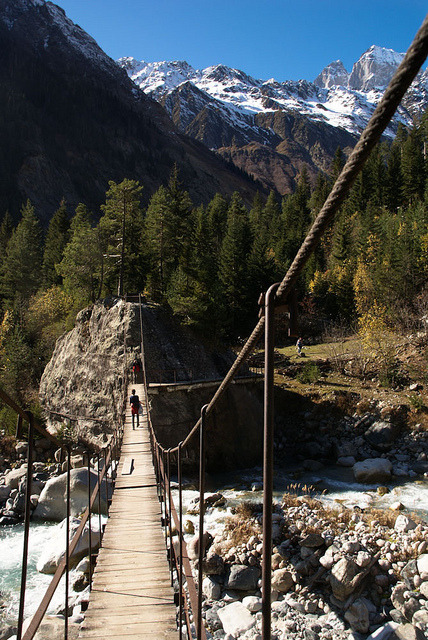 Crossing the river in Svaneti, Caucasus Mountains, Georgia