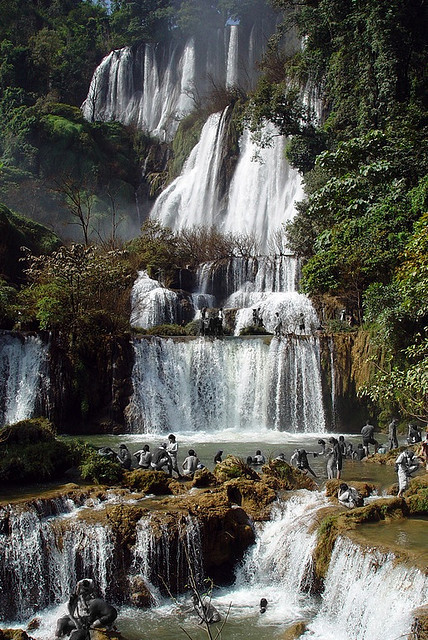 Tourists at Tee-Lor-Su Waterfall in north-western Thailand