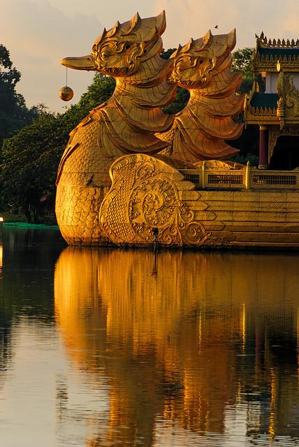 Karaweik floating restaurant in Yangon, Myanmar