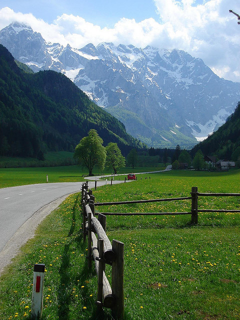 Scenic road in Logarska Dolina Valley, Julian Alps, Slovenia