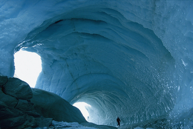 An enormous icy tunnel in Victoria Land, Antarctica
