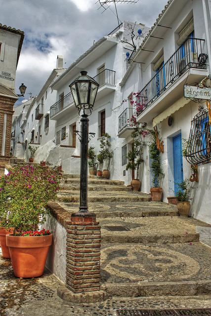 Beautiful streets of Frigiliana in Andalucia, Spain