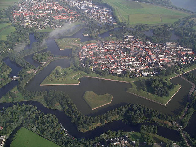 Aerial view of Naarden, one of the most beautiful towns in Netherlands