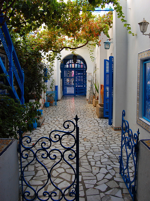 Lovely courtyard in Sidi Bou Said, Tunisia