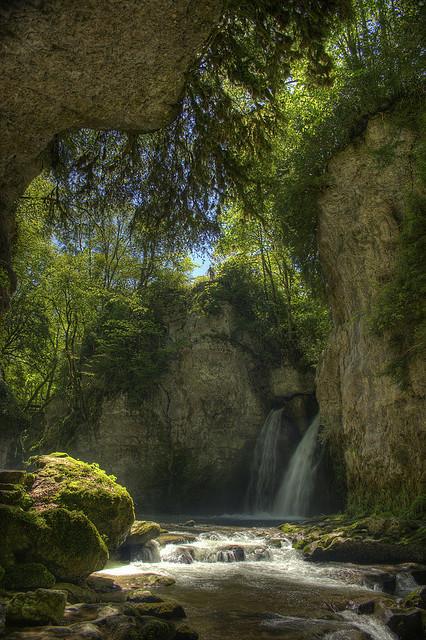 Tine de Conflens waterfall in Canton du Vaud, Switzerland