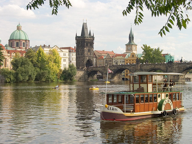 Boat Elbis on Vltava river, Prague, Czech Republic