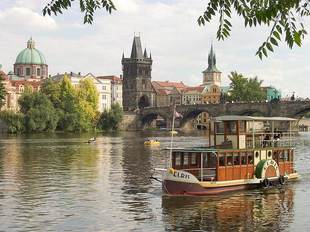 Boat Elbis on Vltava river, Prague, Czech Republic