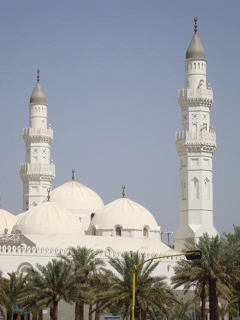 The white minarets of Masjid Quba in Medina, Saudi Arabia