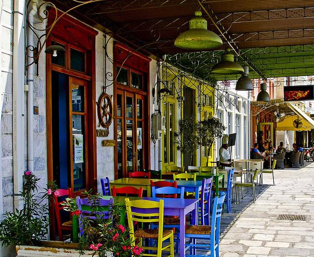 Streetside cafe in Hermoupolis, Syros Island, Greece