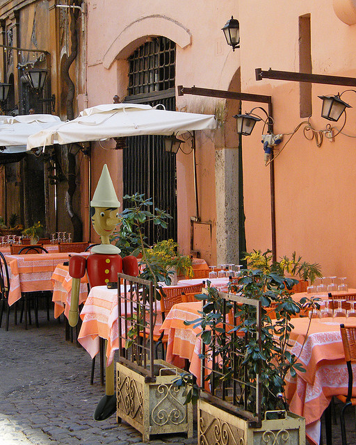Pinocchio Dines In Rome, Trastevere District, Italy