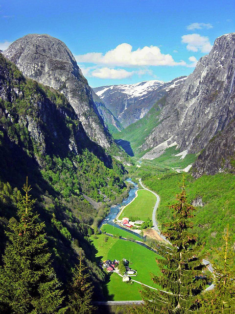 The Gudvangen Valley at the edge of one of the arms of Sognefjord, Norway