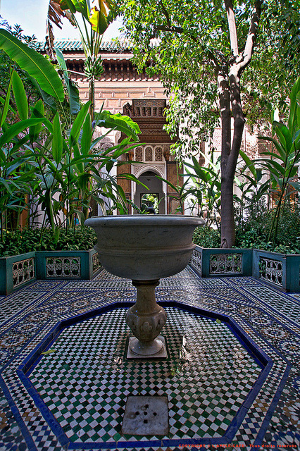 Inner courtyard at Bahia Palace in Marrakech, Morocco