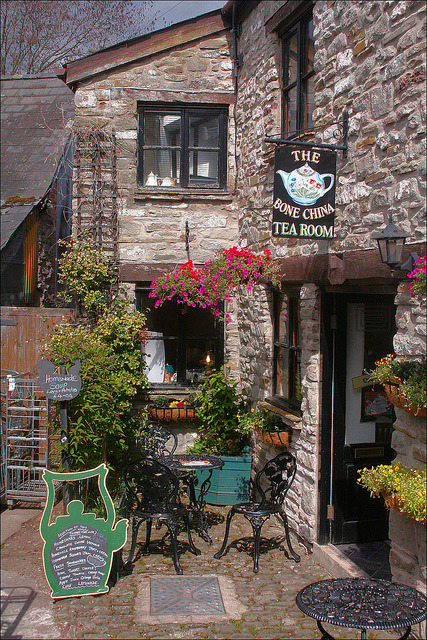 "Cosy little teashop in Hay-on-Wye, often described as ""the town of books"", in Powys, Wales"