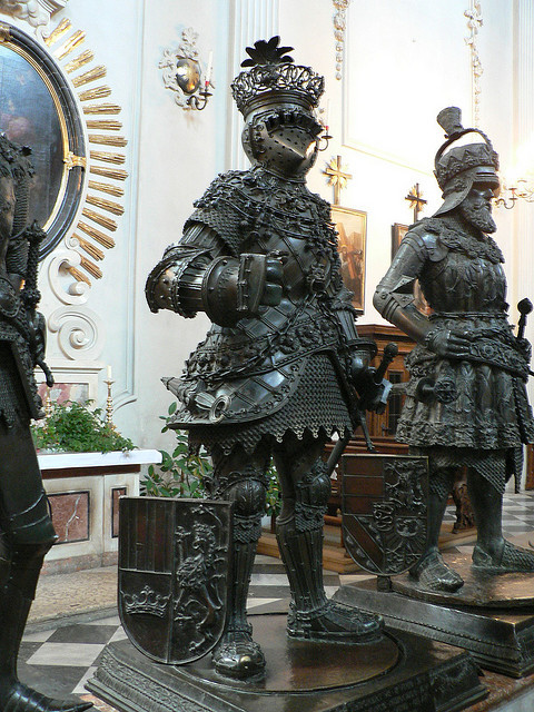 Sculptures guarding the tomb of Habsburg Emperor Maximillian I, Hofkirche in Innsbruck, Austria