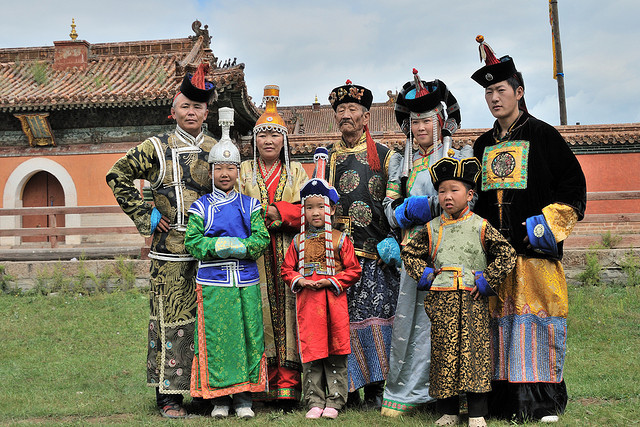 Pilgrims wearing traditional costumes at Amarbayasgalant Monastery, Mongolia