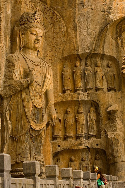 Buddha statues at Longmen Caves in Henan Province, China