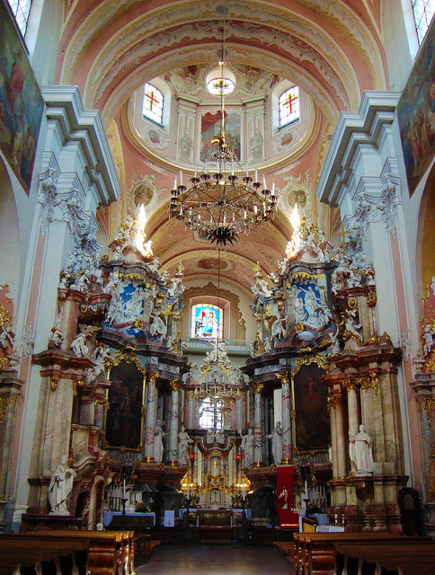 Church of the Holy Spirit, one of the most monumental and ornate churches in Vilnius, Lithuania