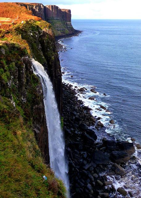 Kilt Rock Waterfall in Isle of Skye, Scotland