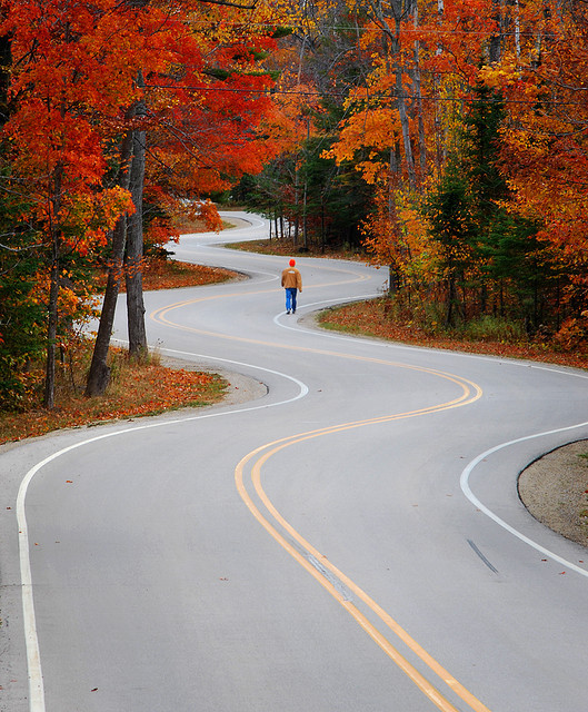 Walking a crooked mile, Door County, Wisconsin, USA