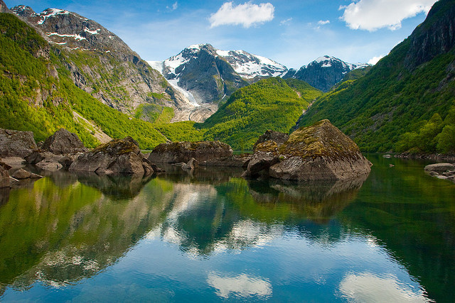 Bondhusvannet glacier lake near Hardangerfjord, Norway