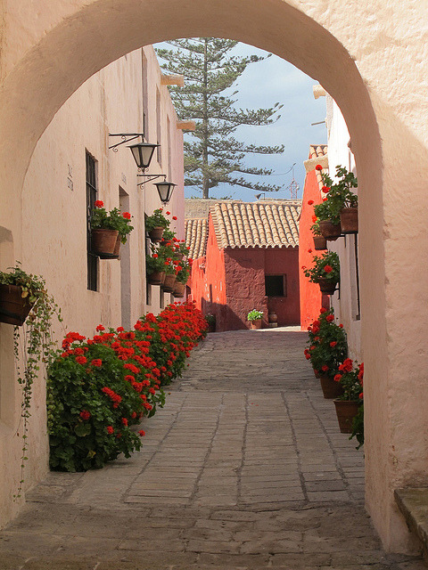 Picturesque alley at Santa Catalina Convent in Arequipa, Peru