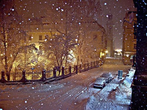 Snowy Night, Cieszyn, Poland