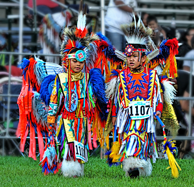 Native americans children at Julyamsh Powwow Festival in Coeur d'Alene, Idaho, USA