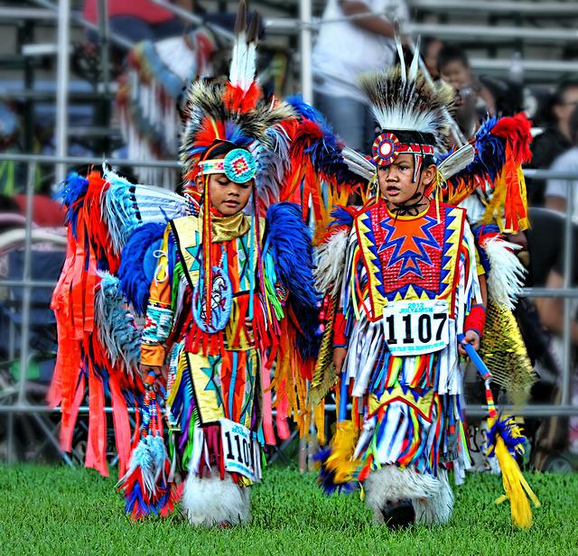 Native americans children at Julyamsh Powwow Festival in Coeur d'Alene, Idaho, USA
