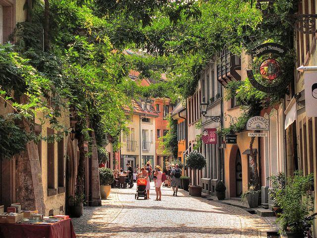 Street scene on Konviktstrasse in Freiburg, Germany