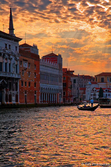 Sunset over The Grand Canal in Venice, Italy