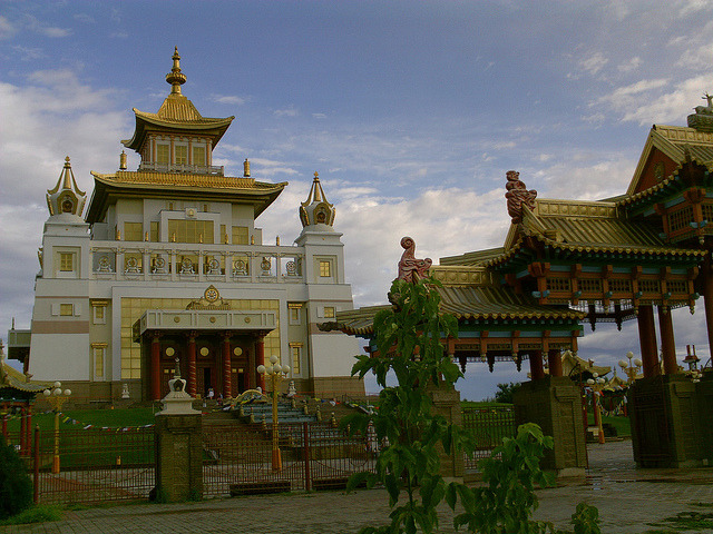 The golden buddhist temple in Elista, Kalmykia, southern Russia